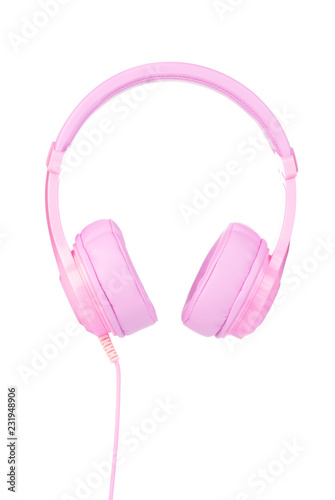 Pink Headphones Isolated on White Background - 231948906