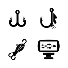 Fishing Equipment. Simple Related Vector Icons Set For Video, Mobile Apps, Web Sites, Print Projects And Your Design. Fishing Equipment Icon Black Flat Illustration On White Background.