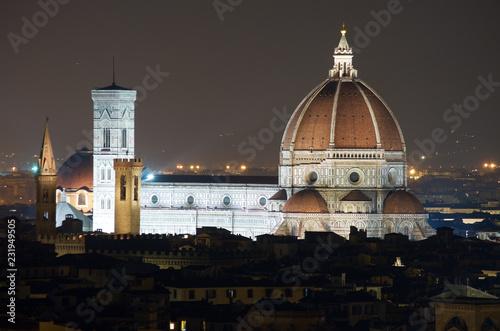 Firenze Toscana Italia Vista Notturna Del Duomo E Della