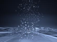 Flying Abstract Blue Broken Glass 3d Illustration
