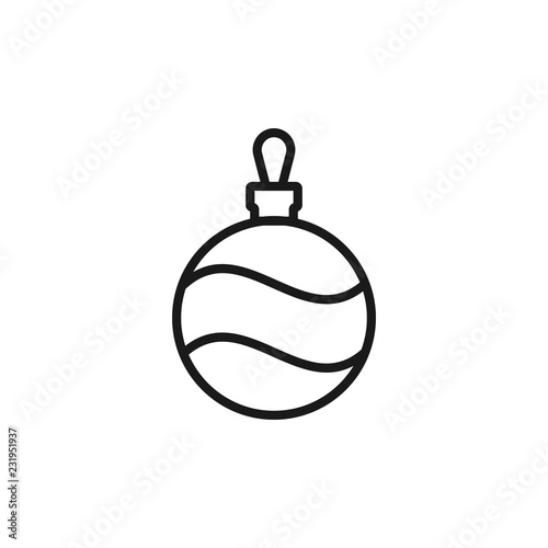 Christmas Tree Ball Linear Icon Thin Line Illustration Xmas Tree