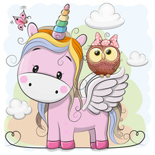 Cute Cartoon Unicorn And Owl