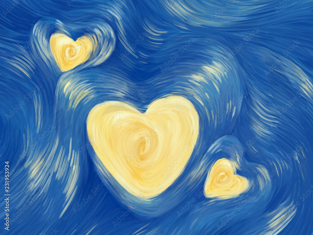 Fototapeta Love starry night painting. Bright illustration card for Valentine's Day, Mother's Day, Father's Day and for soulmate
