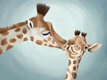 Tender Mother's Kiss For Little Giraffe. Cute Illustration About Big Love