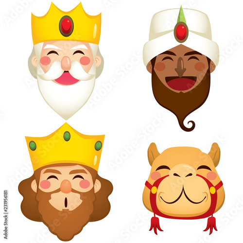 Photo Funny three wise kings and camel faces masks
