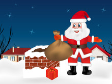 Santa Claus Is Up On The Rooftop Near The Chimney With Sack Full Of Gifts. Winter Night City. Christmas Card. Vector Illustration.
