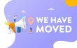 we have moved, people shout on megaphone with we have moved word, chane address vector illustration concept, can use for, landing page, template, ui, web, mobile app, poster, banner, flyer