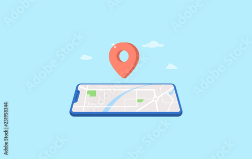 mobile navigation with pin location, road direction vector illustration concept Canvas Print