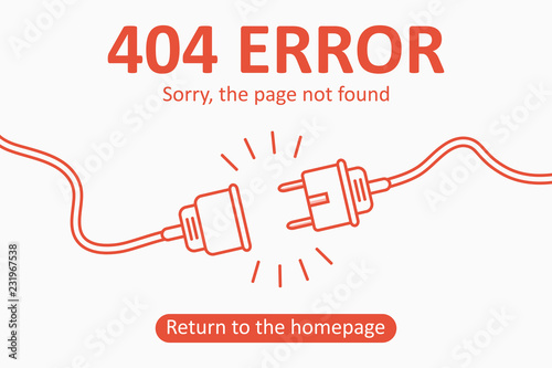 404 error. Page not found template with electric plug and socket. Design for web page - disconnect banner for website. Vector illustration.