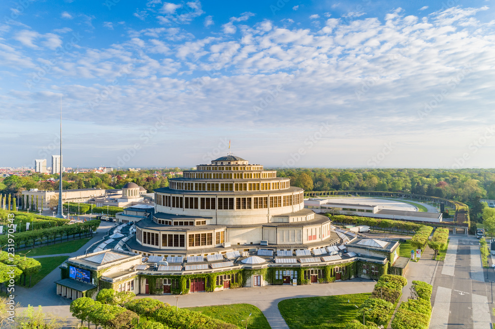 Fototapety, obrazy: Centennial hall at sunny day aerial view