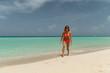 Blonde girl on the Varadero beach, Cuba.