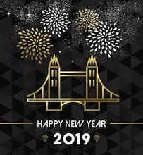New Year 2019 London Uk Tower Bridge Travel Gold