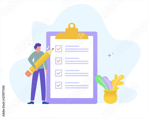 online form survey vector illustration concept, young man holding pencil answer survey form, can use for, landing page, template, ui, web, mobile app, poster, banner, flyer - fototapety na wymiar