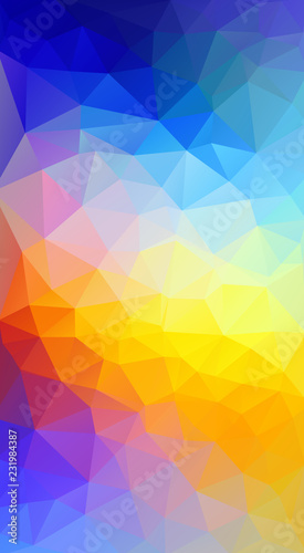 Bright color. Flat triangle bright red and blue gradient background