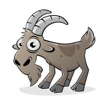 Funny Cartoon Goat Isolated Ve...