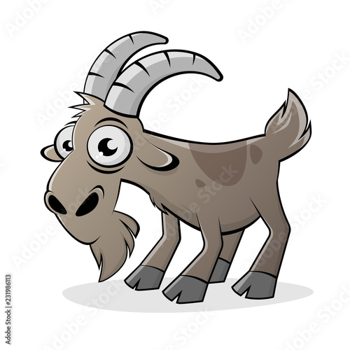 funny cartoon goat isolated vector illustration Fototapete