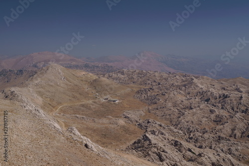 Spoed Foto op Canvas Cappuccino mountain landscape from the mountain Nemrut Dagi