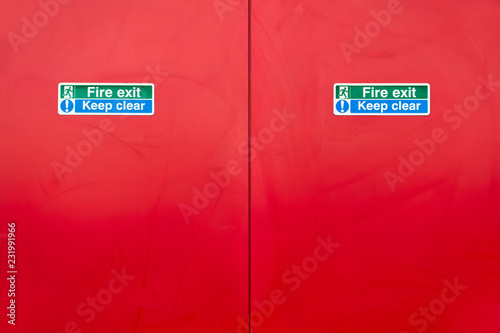 Photo  Fire exit keep clear red blank door