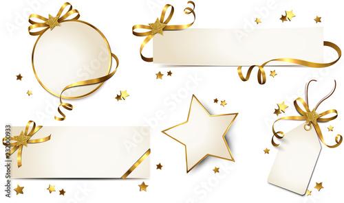 Obraz Banner, Grußkarte und Etiketten mit Schleife und Glitter Stern - Set Gold - fototapety do salonu