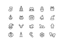 Christmas Line Icons. Vector Linear Icon Set.
