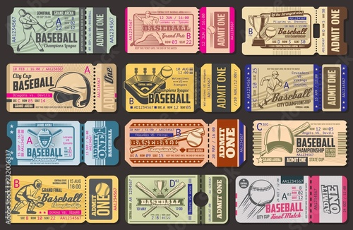 Photo Vector admission tickets, baseball game