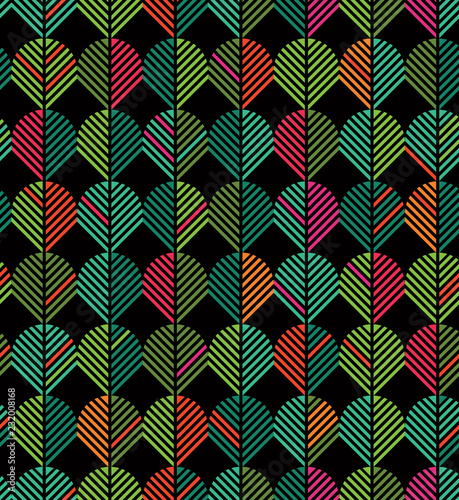 Seamless abstract geometric chevron leaf pattern in Christmas colors Wallpaper Mural