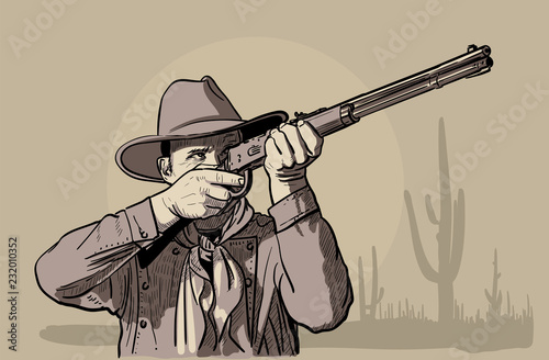 Man with cowboy hat and shirt and scarf shoots a rifle Wallpaper Mural