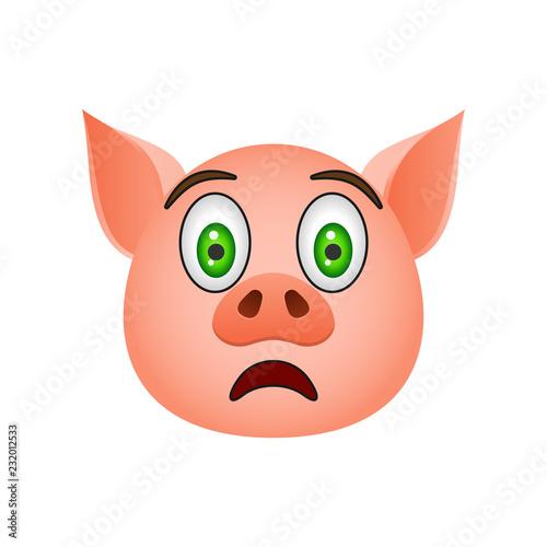 Fotografía  Pig in frightened emoji icon