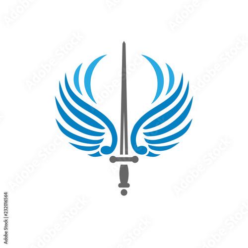 creative sword with bird wings, battle and security metaphor logo vector concept Wallpaper Mural