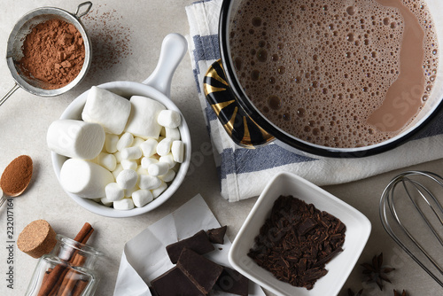 Fotografie, Obraz  Overhead shot of the ingredients and tools, for making hot cocoa