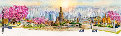 Fotografia Panorama view famous landmarks in Thailand.