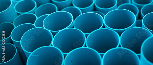 Foto Blue PVC pipes stacked