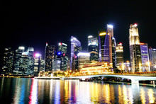 Singapore Night View From Espl...