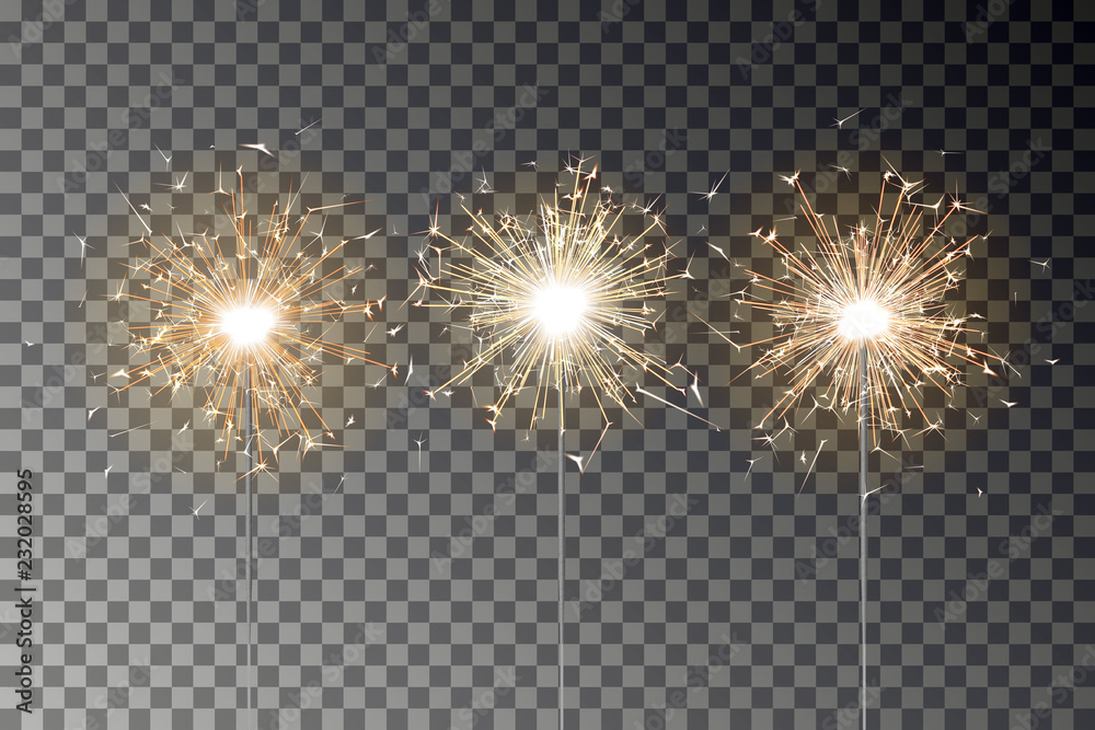Fototapety, obrazy: Bengal fire sparkle vector set. New year sparkler candle isolated on transparent background. Realist
