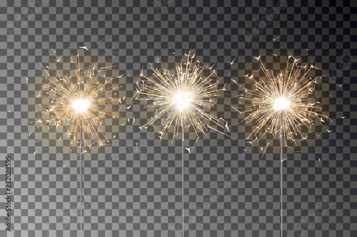 Obraz Bengal fire sparkle vector set. New year sparkler candle isolated on transparent background. Realistic vector illustration - fototapety do salonu