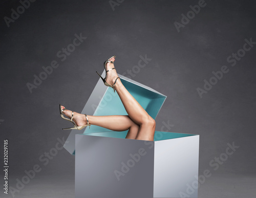 Conceptual photo of women's legs in the huge gift box