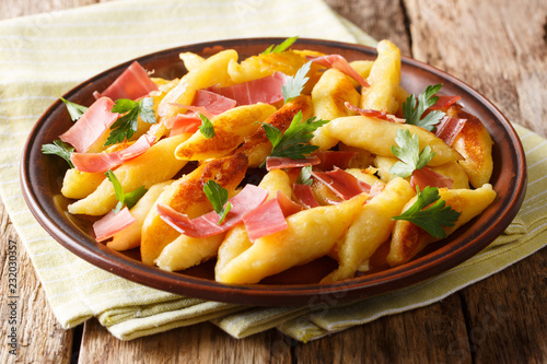 Schupfnudeln - a traditional German side dish. These potato noodles are recognizable with their unusual shape served with bacon and parsley close-up. Horizontal