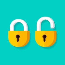 Lock Open And Lock Closed Vector Icons, Flat Cartoon Padlocks Design Isolated