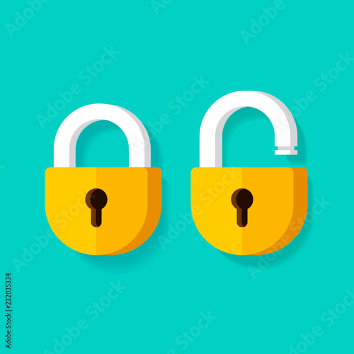 Fotografía  Lock open and lock closed vector icons, flat cartoon padlocks design isolated