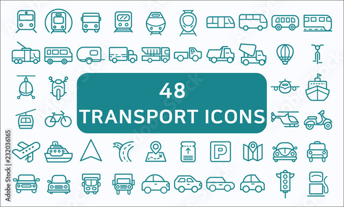 Foto Set Of 48 Transport Related Vector Line Icons Contains such Icons as Bus, Bike, Scooter, Car, balloon,Truck, Tram, Airplane and more