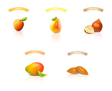 Fruit And Nuts: Apricot,pear,hazelnut,mango,almond