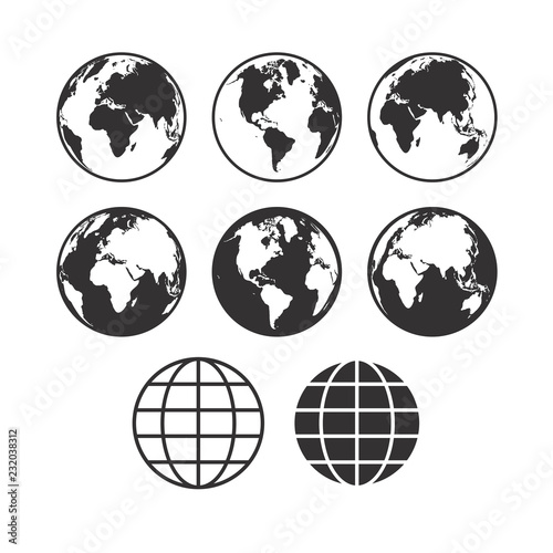 Vector world map icons. Globe icons. Set of vector globe earth i Fototapet