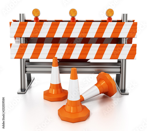 Fototapeta Road block with traffic cones isolated on white background. 3D illustration obraz