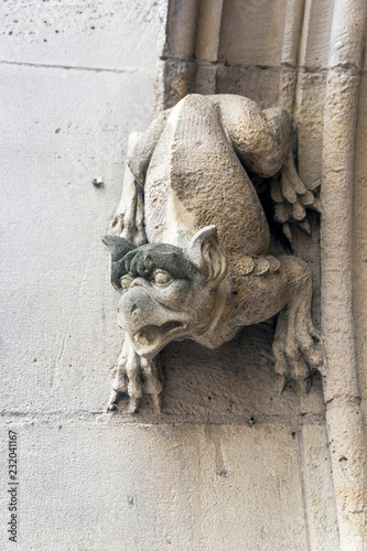 Photo Gargoyles on the wall of a medieval building.