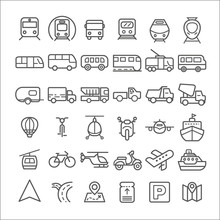 Transport Icons Simple And Thi...