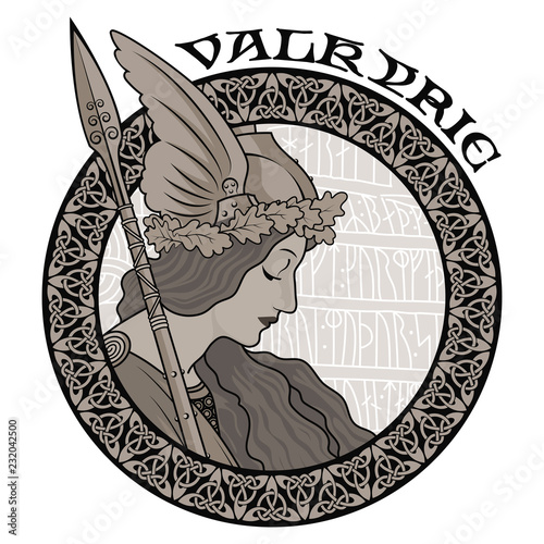 Valkyrie, illustration to Scandinavian mythology, drawn in Art Nouveau style Canvas Print