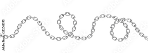 Foto 3d rendering of a single curved polished steel chain lying on a white background