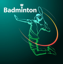Vector Illustration, Badminton Player In Action As A Symbol Badminton Event