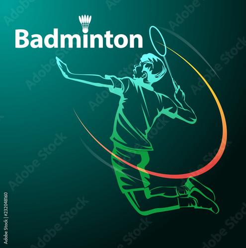 Obrazy Badminton   vector-illustration-badminton-player-in-action-as-a-symbol-badminton-event