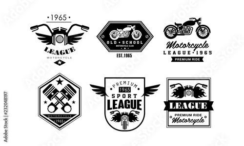 Vintage Premium Motorcycle League Logo Set Retro Badges For Biker